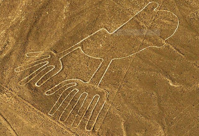 Hình vẽ được cho là đôi bàn tay người, nhưng thiếu một ngón trên bàn tay phải