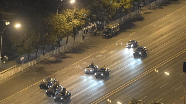 Một đại lô được phong tỏa ở Bắc Kinh để các phương tiện quân sự tập dượt trước lễ duyệt binh ngày 3/9. Ảnh: AFP.
