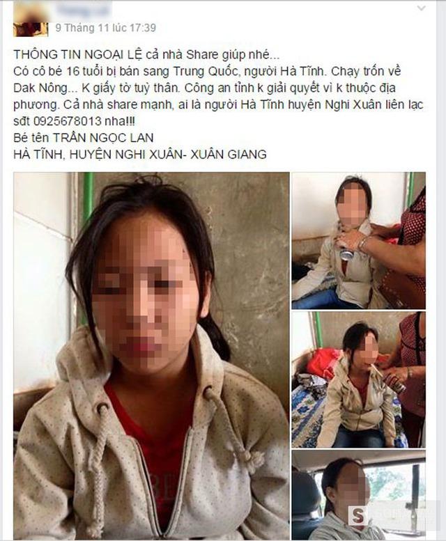 Hình ảnh kèm theo dòng thông tin cô gái bị bán sang Trung Quốc và bị thất lạc không về được nhà