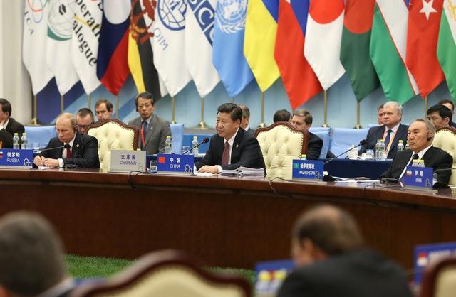 Ông Tập Cận Bình tại Hội nghị thượng đỉnh Những biện pháp hợp tác và xây dựng lòng tin (CICA)ngày 21/5/2014. Ảnh: Xinhua