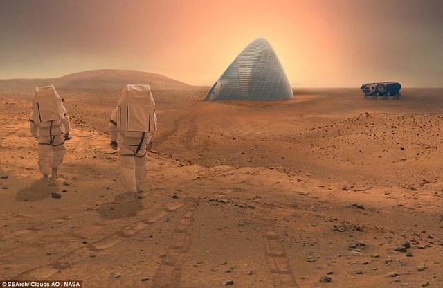 Phối cảnh giả tưởng ngôi nhà khi được xây trên sao Hỏa