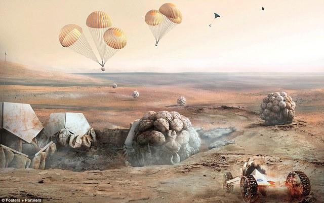 Robot đào đất và robot nhảy dù làm việc trong quá trình xây nhà trên sao Hỏa