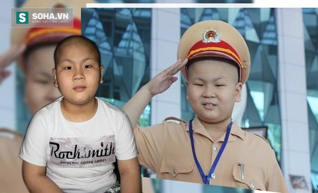 Cậu bé bị ung thư được làm cảnh sát giao thông. Xử lý ảnh: Mạnh Quân