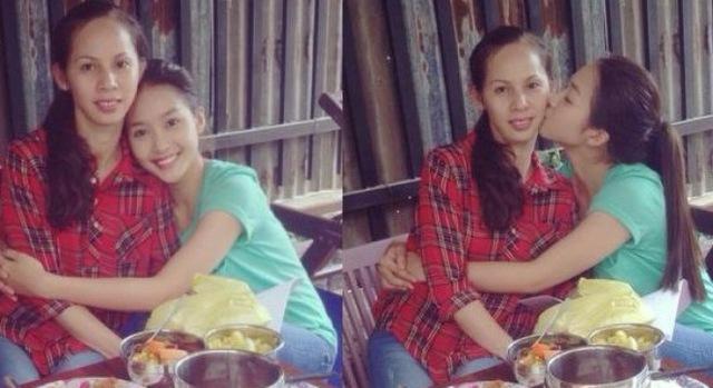 Đầu năm 2014, Khả Ngân lần đầu tiên khoe 1 bức hình chụp chung với mẹ. Mẹ Khả Ngân khá trẻ trung. Bà sở hữu gương mặt trái xoan và phong cách khá giản dị, gần gũi.
