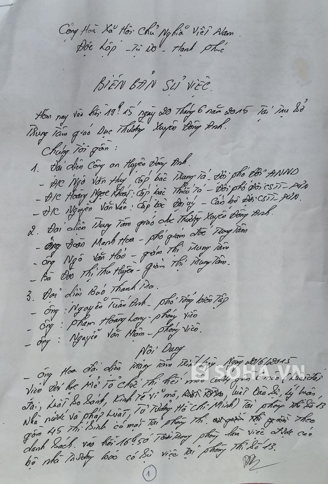 Biên bản làm việc tại hội đồng thi không có sự có mặt của đại diện Viện đại học Mở (Điểm trưởng)