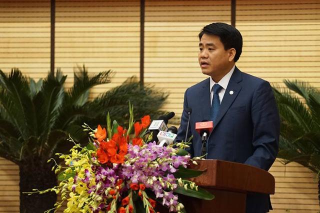 Ông Nguyễn Đức Chung phát biểu sau khi được bầu làm Chủ tịch UBND TP Hà Nội.