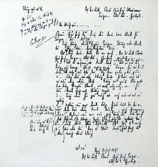 Nội dung bản quân lệnh số 1 do tướng Trang chấp bút viết. Ảnh tư liệu.