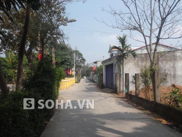 Con đường bê tông dẫn từ đầu làng vào ngôi nhà cũ nơi ông Nguyễn Bá Thanh được sinh ra.