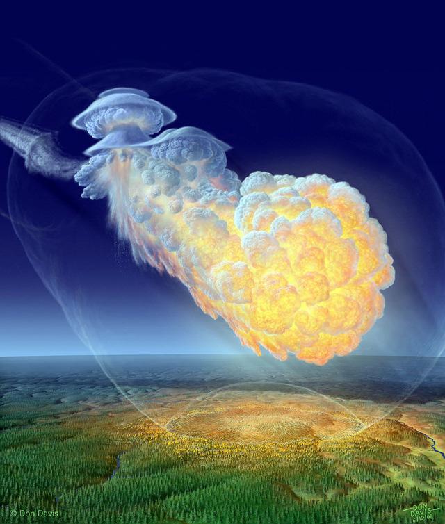 Hình ảnh phục dựng của siêu vụ nổ trên không Tunguska (1908)