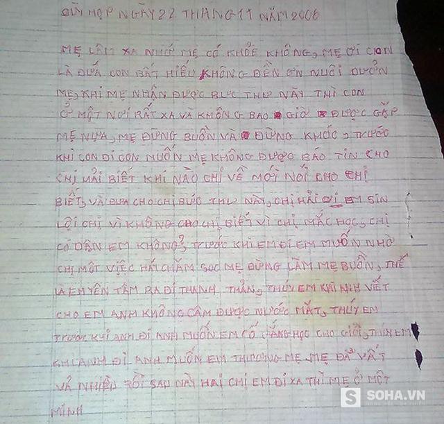Bức thư gửi mẹ năm 2006 của Hà khi em đang chán nản, muốn tìm đến cái chết vì cuộc sống khổ cực lúc ở với bố.