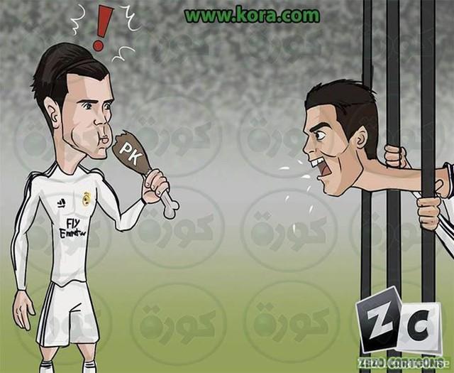 Bale vô tình ăn mất đùi gà penalty của Ronaldo