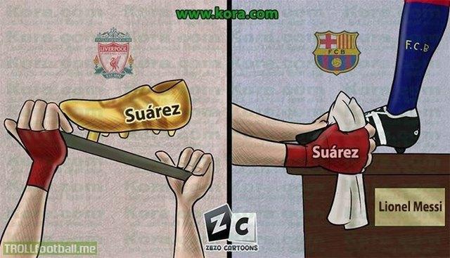 Từ đôi giày vàng thành gì đây Suarez?