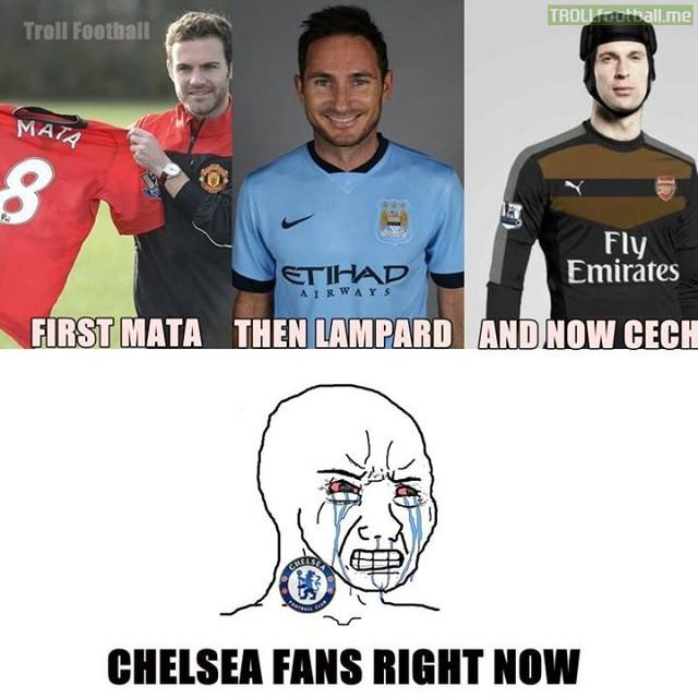 Còn fan Chelsea thì rất buồn.