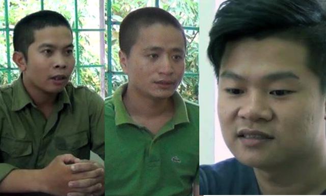 3 đối tượng Long, Thành, Cường tại cơ quan điều tra. (Ảnh cắt từ clip).
