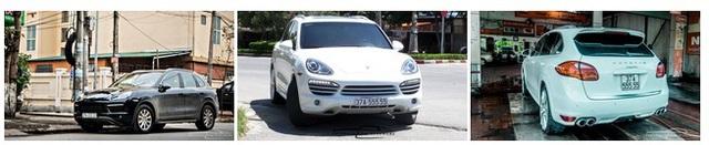 Ở vị trí thứ 4 và thứ 5 chính là cặp đôi Porsche Cayenne với biển số không phải dạng vừa. Chiếc Cayenne màu trắng mang biển ngũ quý 5 còn chiếc màu nâu đậm sở hữu biển số ngũ quý 2. Là một trong những chiếc SUV hạng sang bán chạy nhất thế giới, Porsche Cayenne luôn là sự lựa chọn hàng đầu cho những doanh nhân thành đạt muốn thể hiện sự đẳng cấp của mình qua phương tiện đi lại hàng ngày. Tại Việt Nam, một chiếc Porsche Cayenne tiêu chuẩn có giá 3.470.000.000 đồng.