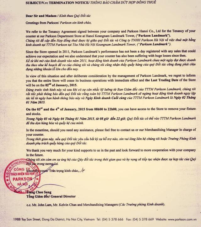 Văn bản của Parkson gửi đến các đối tác về việc đóng cửa TTTM Parkson Landmark.