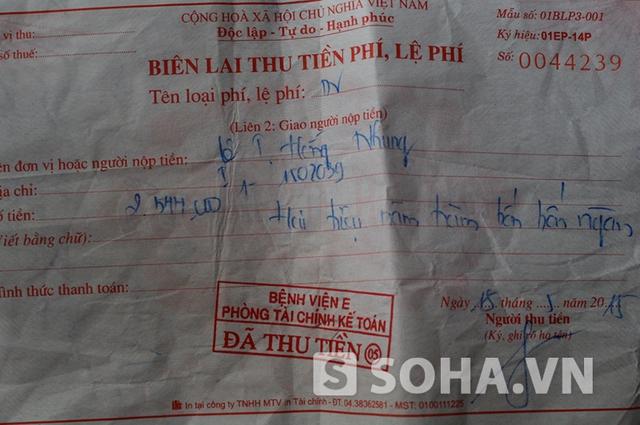Biên lai thu viện phí của chị Nhung không thể hiện khoản tiền thu ngoài của bác sĩ Tuyên