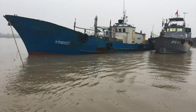 Chiếc tàu của Trung Quốc xâm phạm chủ quyền biển của Việt Nam được áp giải về cửa sông Bạch Đằng để điều tra làm rõ sai phạm - Ảnh: Hải đội 2 cung cấp