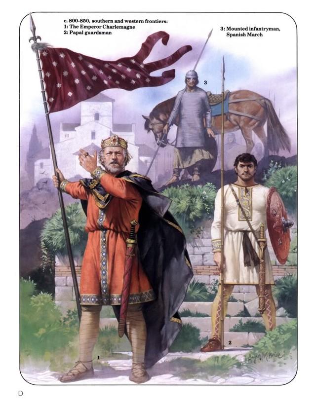 Tranh vẽ Hoàng Đế Charlemagne mặc trang phục La Mã, phất cờ Đế chế về phía Tây để bình định vùng đất Hispanic của người Moor.