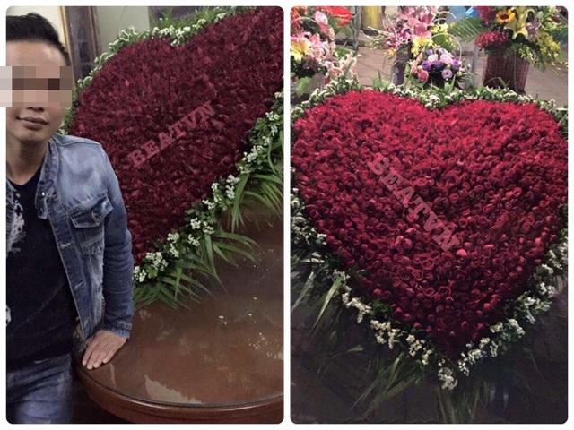 Bó hoa khổng lồ khiến nhiều người thích thú.