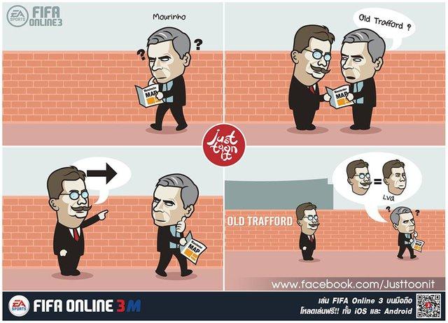 Van Gaal gắn râu, đeo kính đóng giả người khác để chỉ đường sai, khiến Mourinho đi xa khỏi Old Trafford.