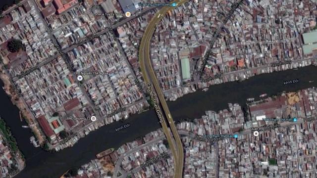 Cầu Nhị Thiên Đường 1 và 2.Ảnh: Google Maps