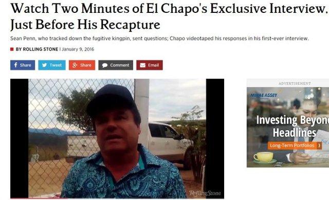 Tờ Rolling Stone phát đoạn phim trùm ma túy El Chapo, lần này đã cạo đi hàm ria nổi tiếng, trả lời phỏng vấn từ xa - Ảnh chụp lại màn hình