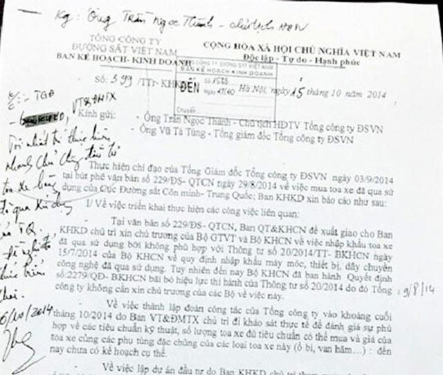 Văn bản với bút phê của ông Thành. Ảnh: Tiền Phong.