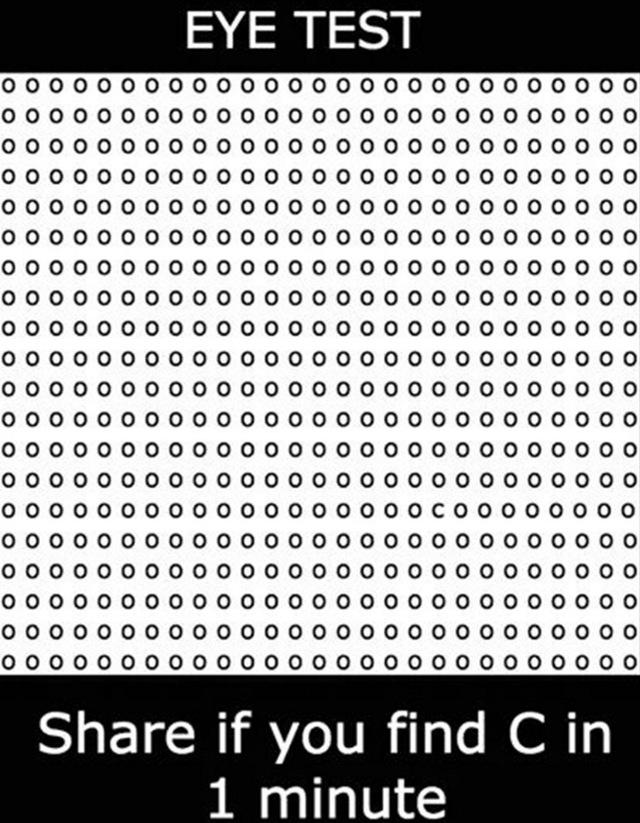 Hãy tìm chữ c trong ma trận này trong 1 phút