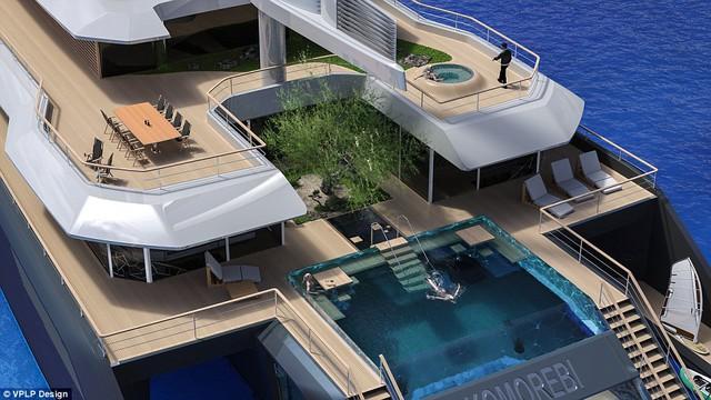 Du thuyền rất thân thiện với môi trường, có chỗ trồng cỏ ngoài trời