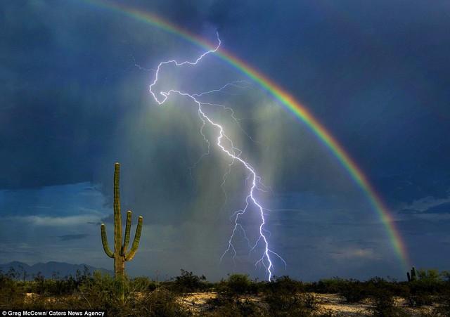 Bức ảnh quý hiếm: sét và cầu vồng trên hoang mạc.