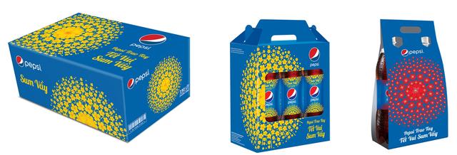 Hộp quà Pepsi được thiết kế đẹp mắt với vẻ đẹp của mai đào, mang lại sự ấm cúng cho gia đình, cùng những lời chúc Sum Vầy ý nghĩa ngày Tết với nhiều mẫu mã đa dạng