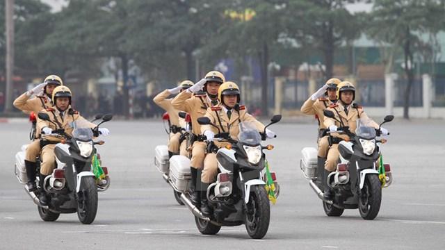 Lực lượng Cảnh sát giao thông với dàn mô tô chuyên dụng. (Ảnh: Minh Sơn/Vietnam+)