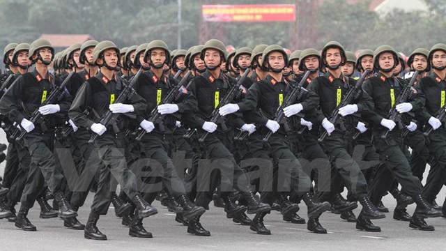 Khối hạ sỹ quan cảnh sát đặc nhiệm. (Ảnh: Minh Sơn/Vietnam+)