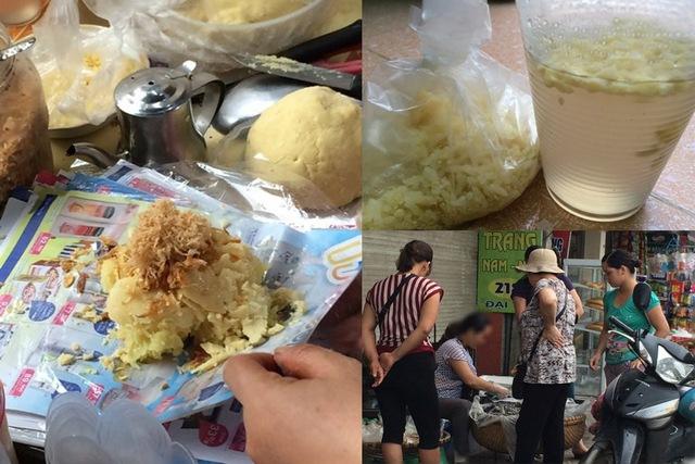 Quán xôi của một bà lão tên M. ở Đại Từ, Hoàng Mai, Hà Nội mỗi ngày thu hút hàng trăm khách đến mua với đủ loại: xôi đỗ, xôi thịt, xôi lạc, xôi gấc, xôi xéo... Ảnh: Infonet