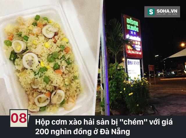 Sau khi mua2 hộp cơm xào hải sản trong tối mồng 3 Tết tại nhà hàng Đỉnh Khôi (Đà Nẵng), khách hàng tá hỏa vì mỗi hộp cơm này có giá 200 nghìn đồng. Dù đây là giá phía nhà hàng đã niêm yết, nhưng nhà chức trách nhận định mức giá này không thể chấp nhận được.
