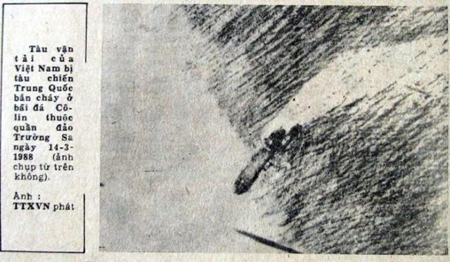 Con tàu anh hùng HQ505 lao lên đảo Cô Lin, thành mốc chủ quyền Việt Nam, ảnh trên báo Nhân Dân số ra ngày 25-3-1988
