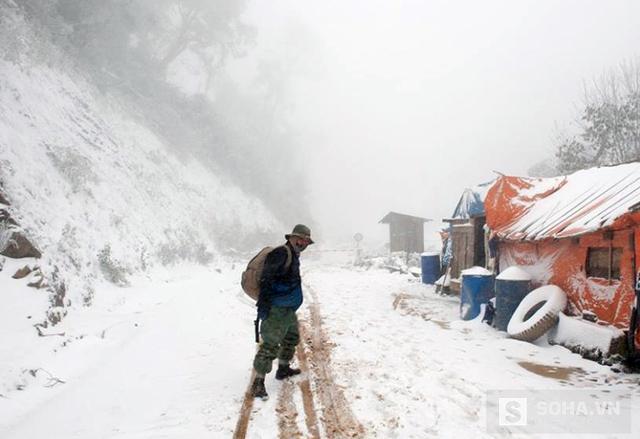 Tuyết rơi ngày càng dày đặc trong ngày 25/1 ở xã Na Ngoi (Kỳ Sơn, Nghệ An). (Ảnh: Bằng Trần).