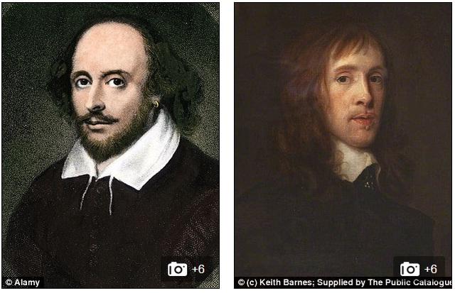Chân dung của Shakespeare (bên trái) và William Davenant (bên phải)