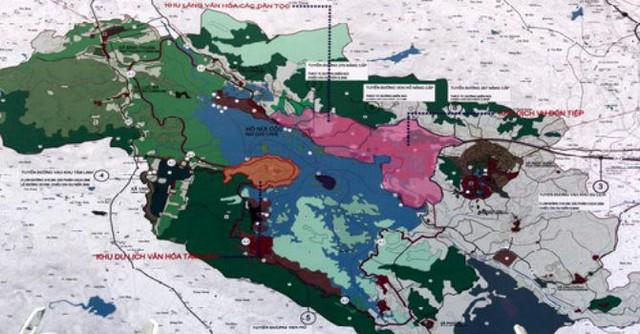 Bản đồ quy hoạch tổng thể phát triển Khu du lịch Quốc gia Hồ Núi Cốc