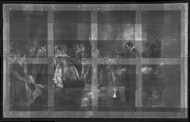 Bức tranh gốc với nhiều sọ người xếp thành vòng tròn trước mặt John Dee.