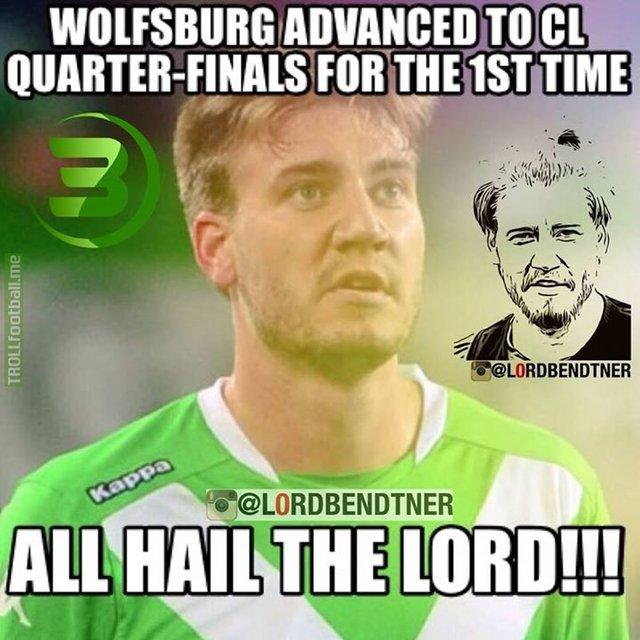 Lần đầu tiên trong lịch sử, Wolfsburg lọt vào tứ kết Champions League. Đây chính là sự màu nhiệm đến từ Bendtner?