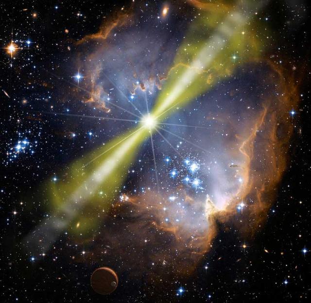 Năng lượng bắn ra từ vụ nổ tia gamma là cực lớn. Hình minh họa