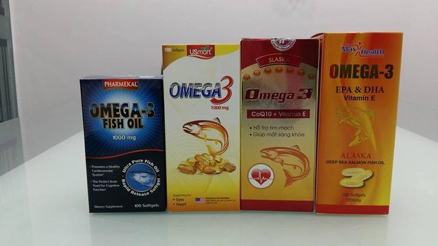 4 nhãn hiệu dầu có Omega-3 được sử dụng trong thực nghiệm.
