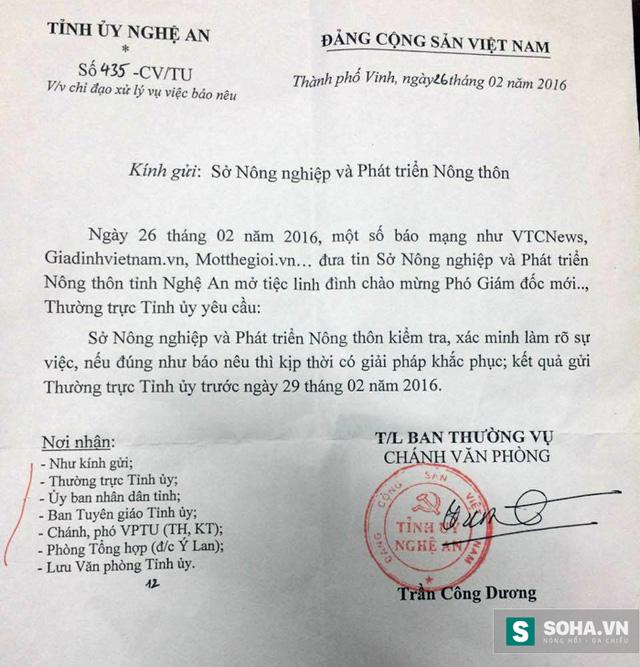 Công văn chỉ đạo của Tỉnh uỷ Nghệ An yêu cầu Sở Nông nghiệp báo cáo vụ việc bữa tiệc mừng PGĐ Sở.