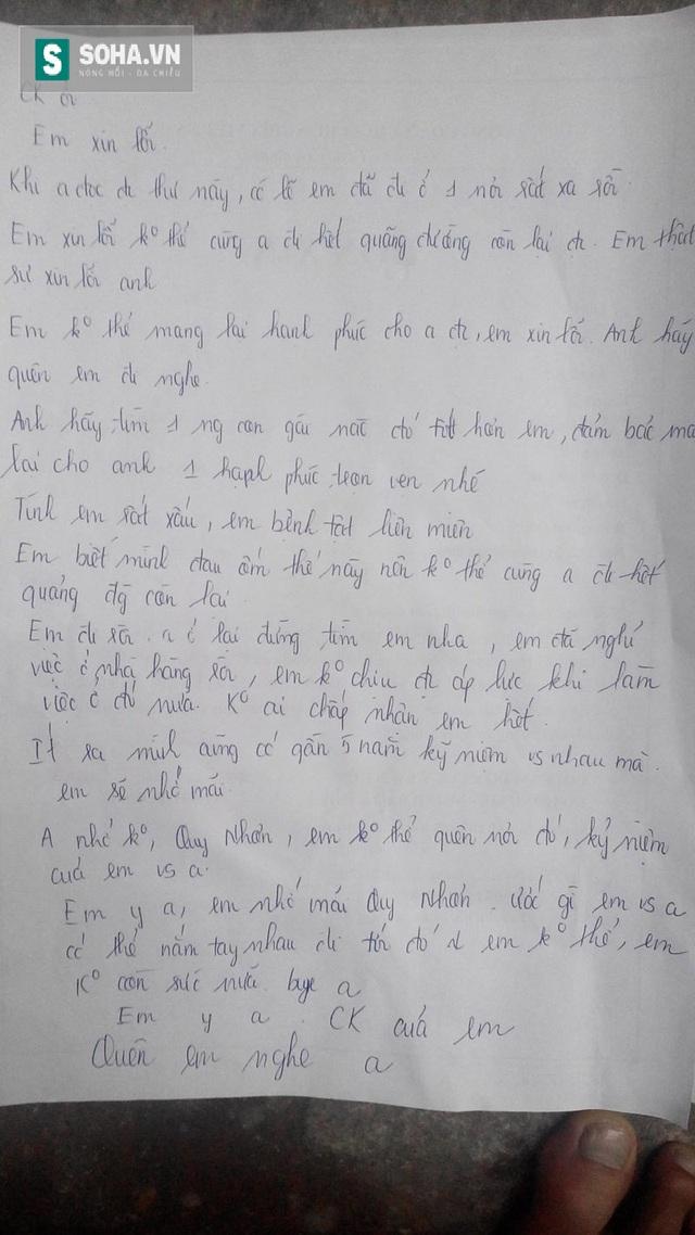 Bức thư chị Oanh để lại cho anh Sơn và gia đình