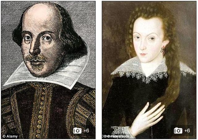 Chân dung của Shakespeare (bên trái) và vợ là bà Anne Hathaway (bên phải) đã có với nhau ba con gái