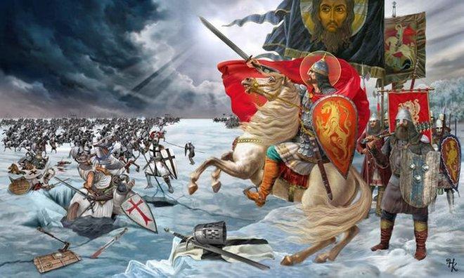 Vương công Nevsky (phải) lãnh đạo chống xâm lược. Ảnh Internet.