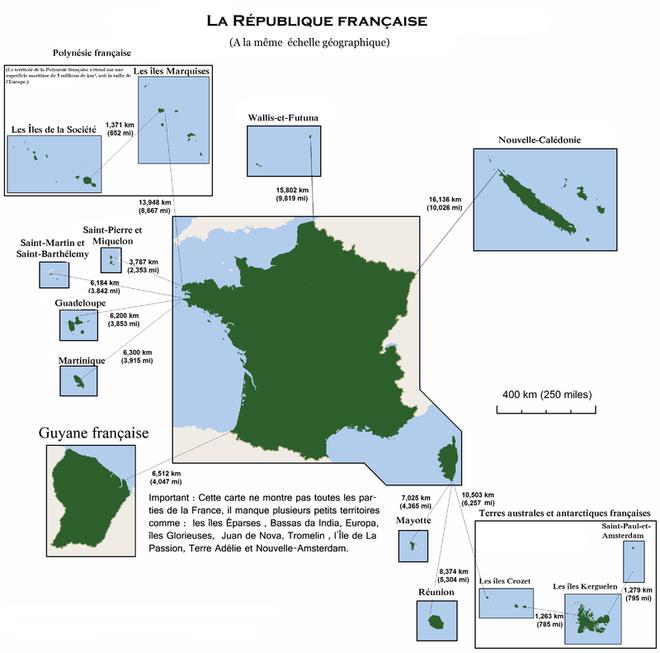 Chi tiết các vùng lãnh thổ thuộc Pháp và Pháp