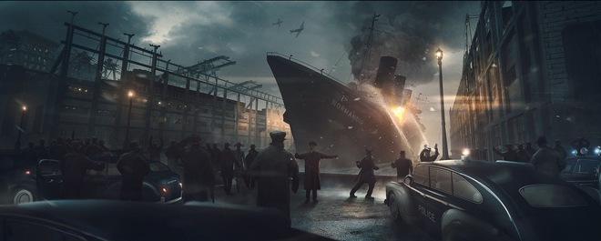 Tàu SS Normandie bốc cháy. Ảnh minh họa.